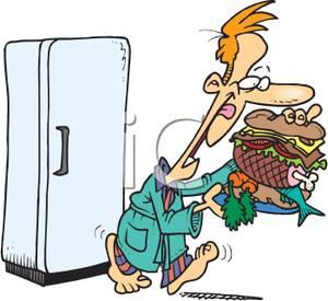 300x275 Man With A Giant Sandwich Leaving The Fridge Clip Art Image