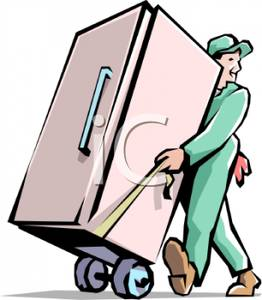 262x300 Art Image A Repairman Carrying A Fridge On A Dolly