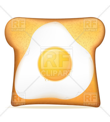 362x400 Fried Egg On Toast Royalty Free Vector Clip Art Image