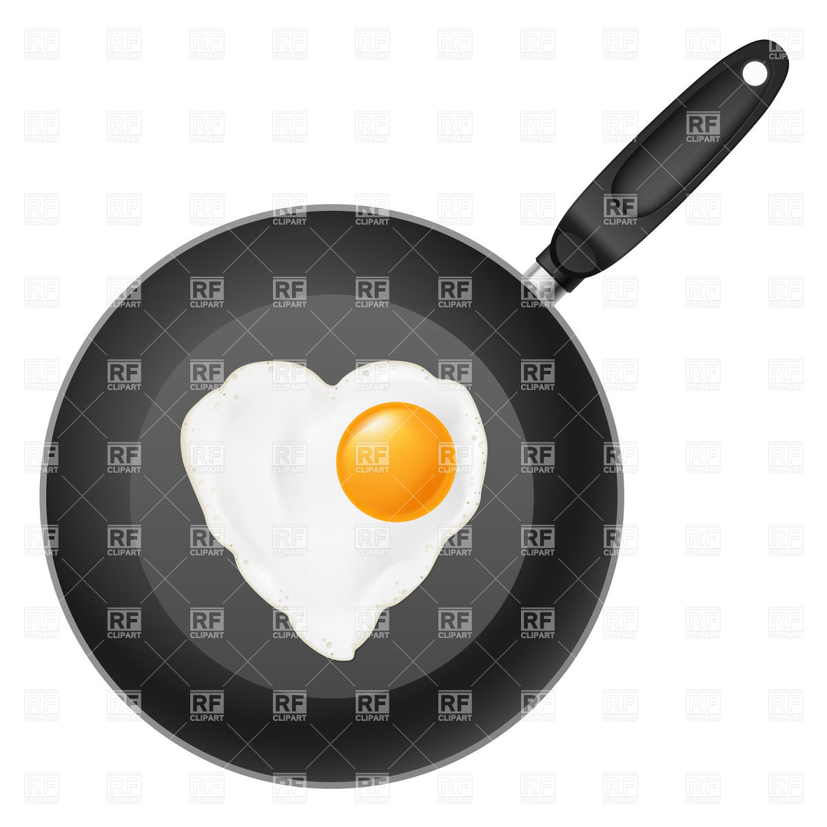 1200x1200 Frying Pan With Heart Shaped Fried Egg Royalty Free Vector Clip