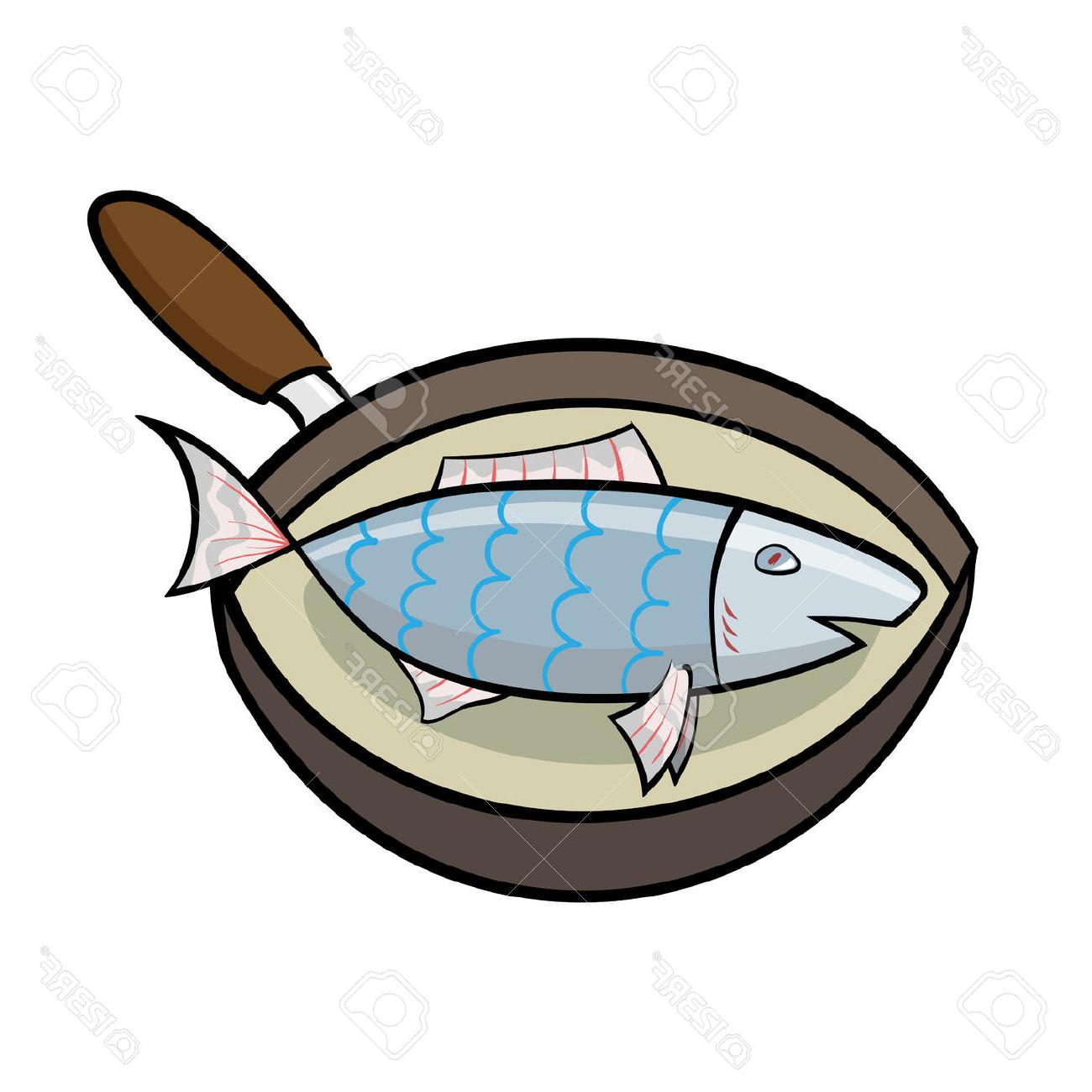 1300x1300 Best Cartoon Cooking Fish In Frying Pan Stock Vector Image