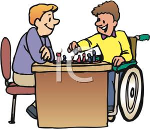 300x259 Art Image A Boy And A Boy In A Wheelchair Playing Chess
