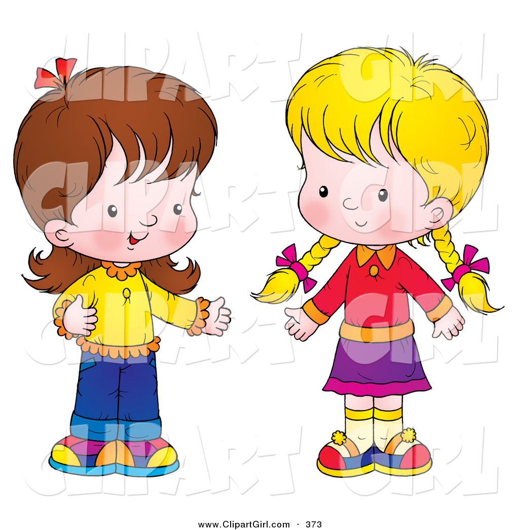 1024x1044 Clip Art Of A Pair Of Little Girls Standing Together And Talking