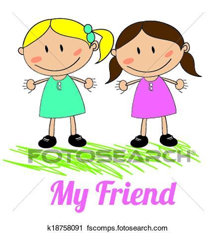 435x470 Clipart Of Kids Friends Design K18758091