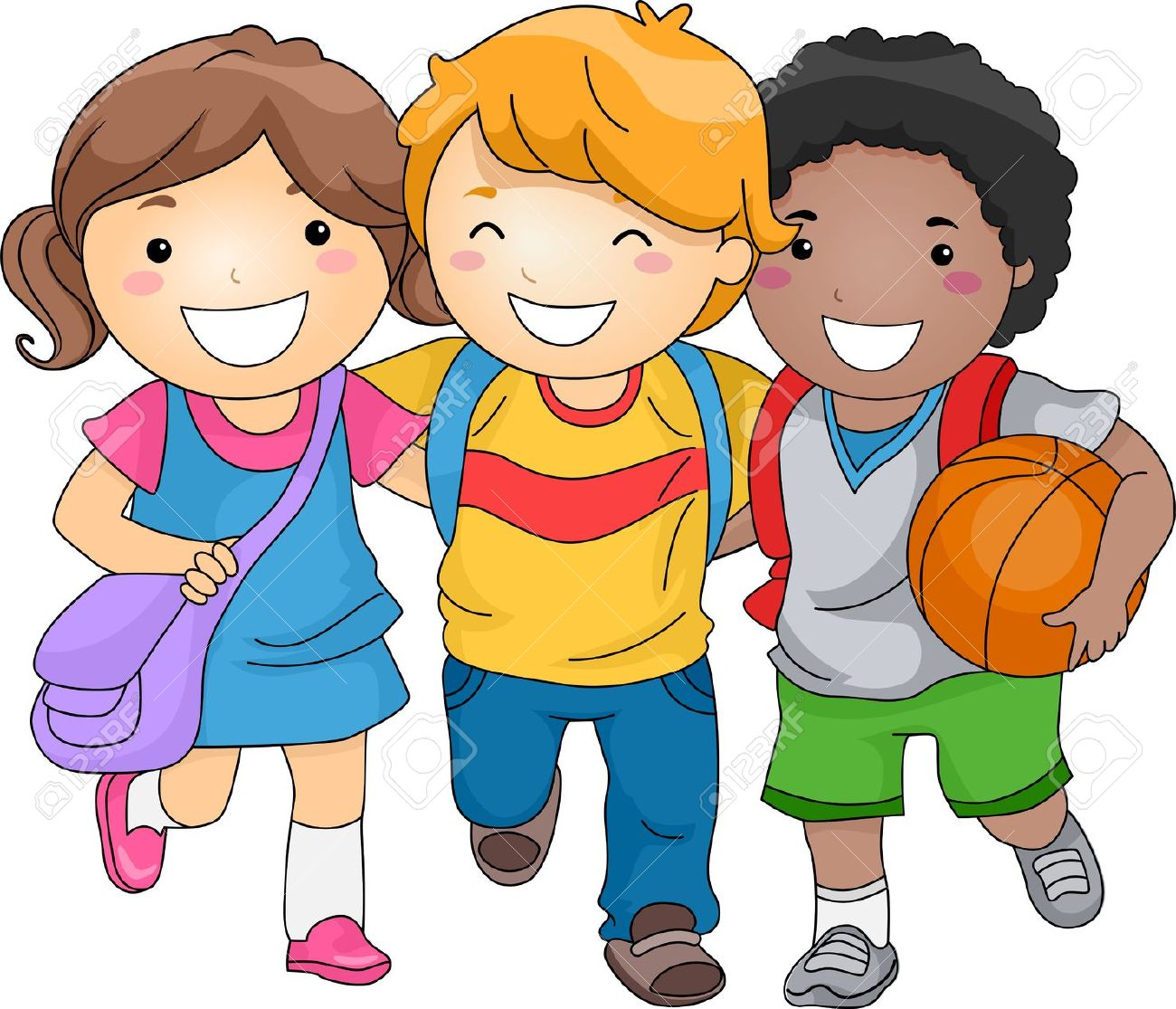 1300x1115 Illustration Of Kid Students As Close Friends Stock Photo, Picture