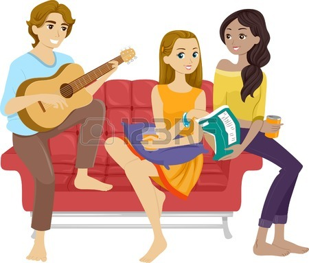 450x383 Illustration Of Teenage Friends Hanging Out Together Royalty Free