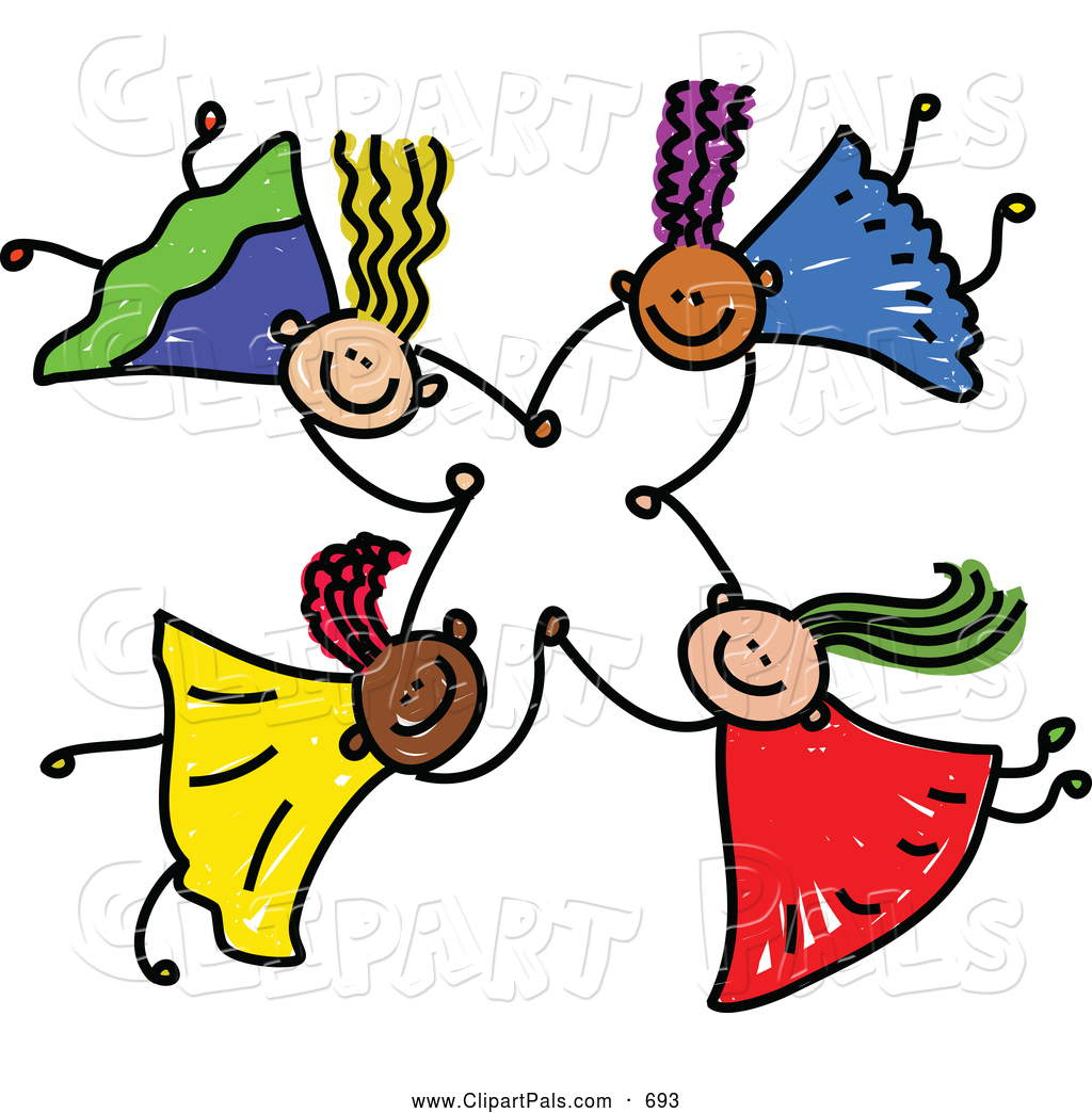 1024x1044 Pal Clipart Of A Childs Sketch Of Four Kids Holding Hands While