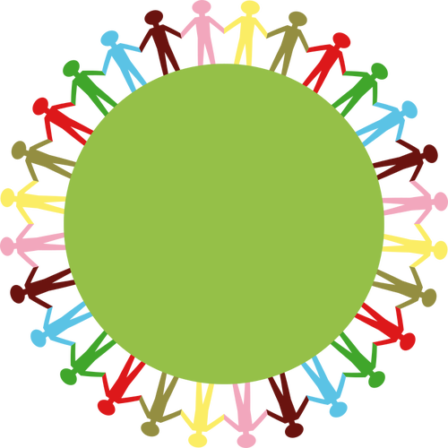 500x500 Clip Art Of People Holding Hands Around Green Circle Public