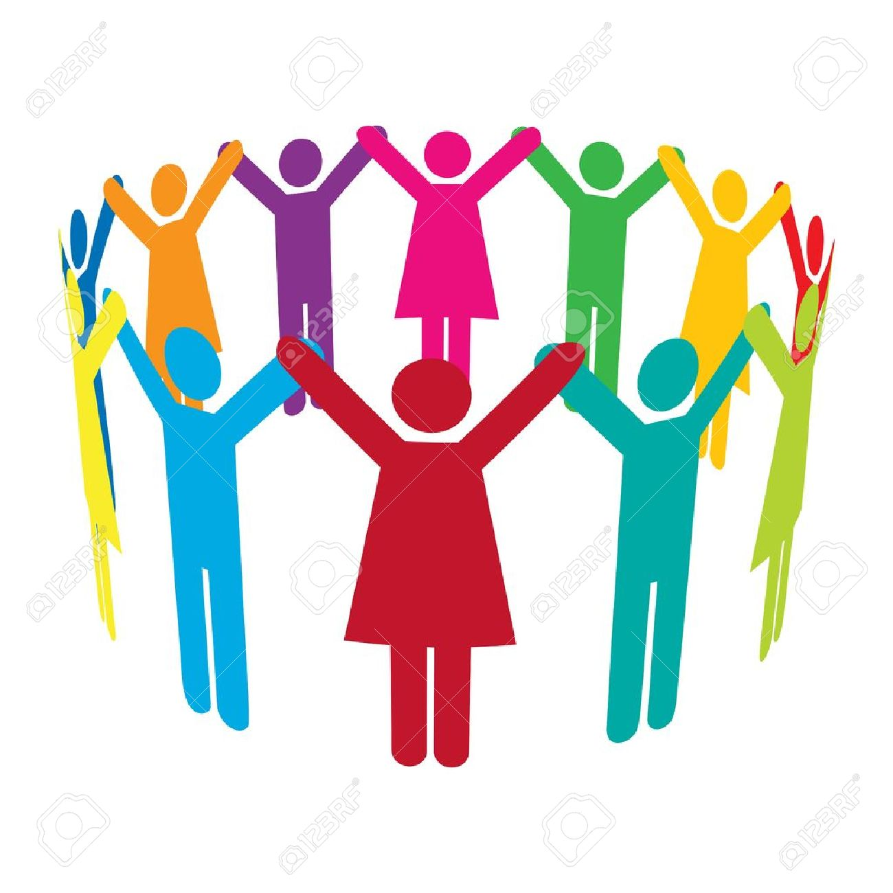 1300x1300 Colourful People Holding Hands High Up In A Circle. Royalty Free