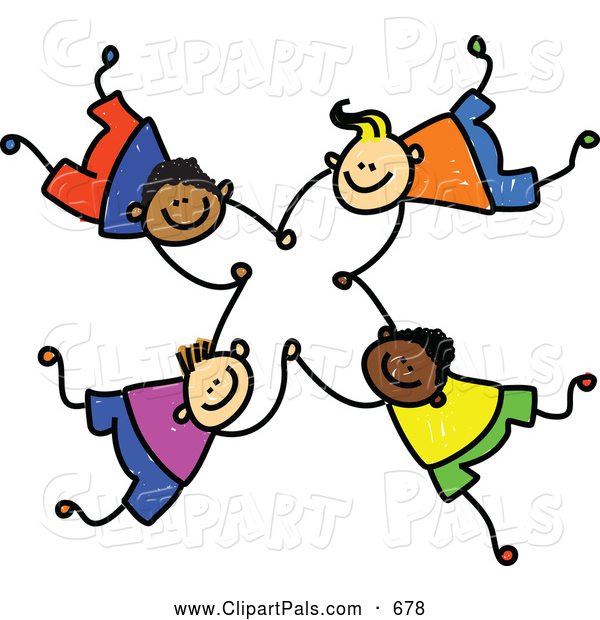 600x620 Pal Clipart Of A Childs Sketch Of Four Boys Falling And Holding