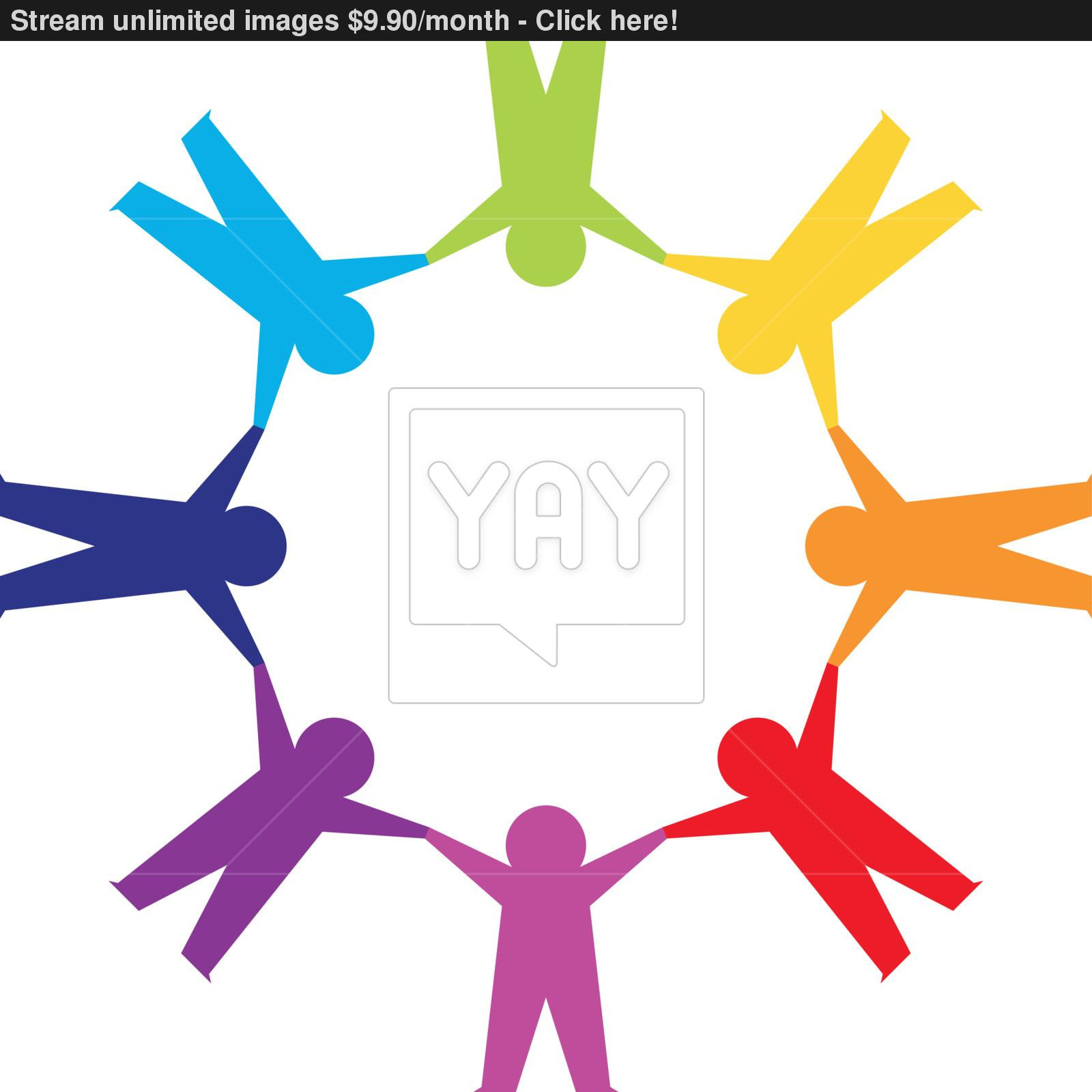 1600x1600 Paper People In Circle Holding Hands Vector