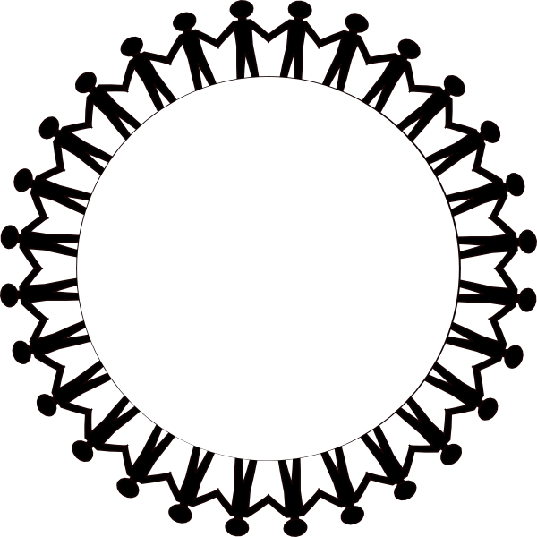 600x600 Circle Holding Hands Stick People Black Clip Art