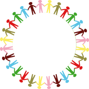 300x300 Circle Holding Hands Stick People Multi Coloured Clip Art