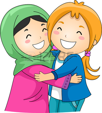 410x450 Illustration Of A Muslim And A Non Muslim Girl Hugging Each Other