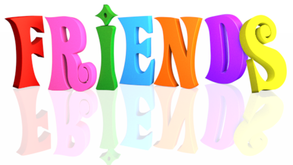 600x338 Text Friends Multicolor Reflection Tranparent Background Free