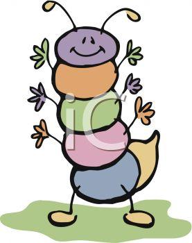 277x350 Cute Little Cartoon Bug, A Caterpillar, Waving Its Many Arms