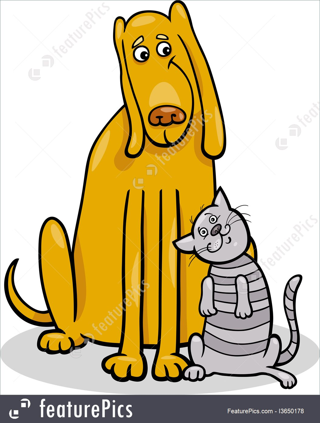 1053x1391 Dog And Cat In Friendship Cartoon Illustration
