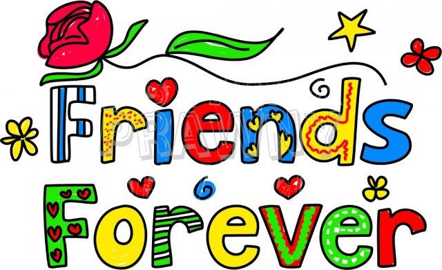 640x391 Friends Forever Decorative Doodle Cartoon Text Clipart Prawny