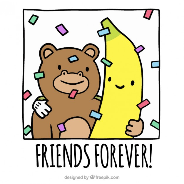 626x626 Monkey And Banana, Friendship Day Vector Free Download