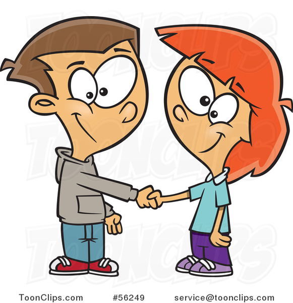 581x600 Cartoon White Boy And Girl Shaking Hands On A Deal Or Friendship
