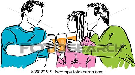 450x249 Clip Art Of Friends Party Time Drinking Beer Il K35829519