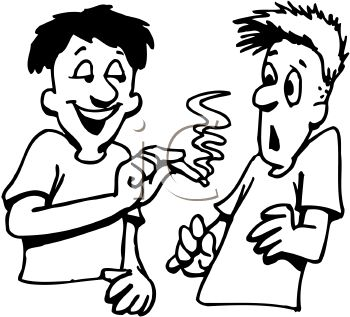 350x317 Royalty Free Clip Art Image Boy Trying To Get Another Boy To Smoke