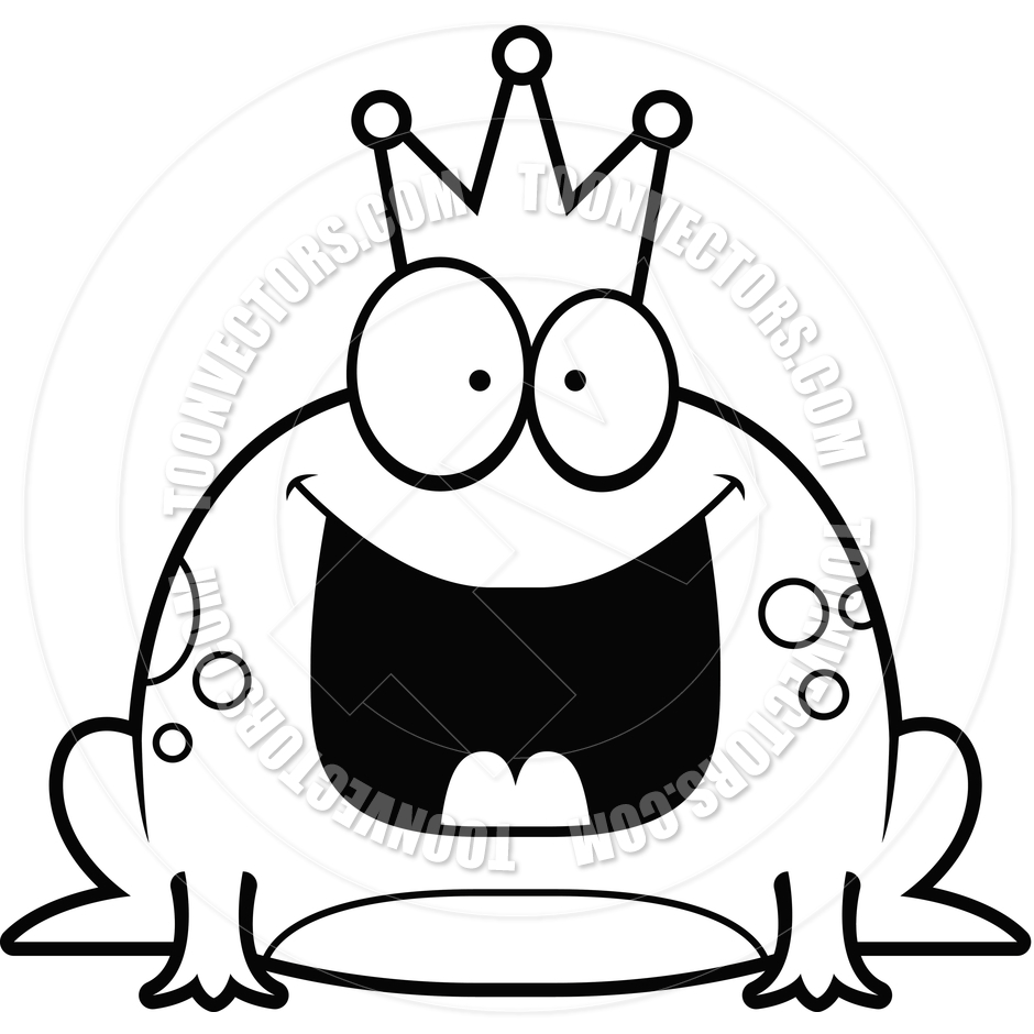940x940 Cartoon Little Frog Prince Happy (Black And White Line Art) By