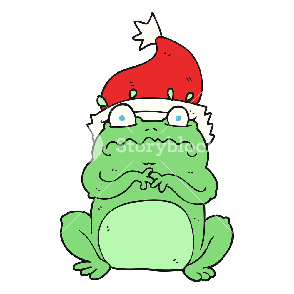 1000x1000 Freehand Drawn Cartoon Frog In Christmas Hat Royalty Free Stock