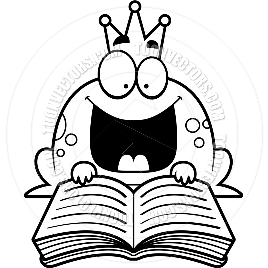 940x940 Cartoon Little Frog Prince Reading (Black And White Line Art) By