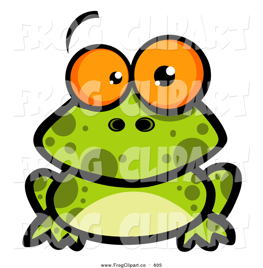 1024x1044 Clip Art Of A Spotted Frog With Big Orange Eyes By Hit Toon