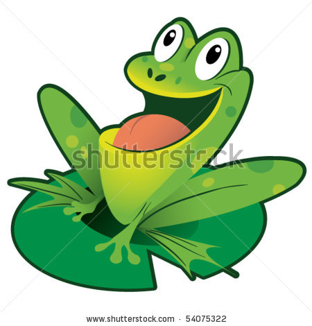 450x470 Of A Frog Siting On A Lily Pad With His Mouth Open In A Vector Clip