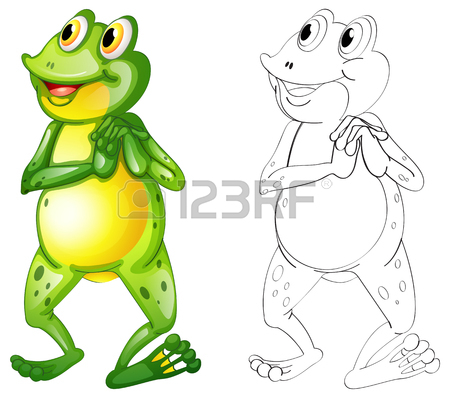 450x398 Animal Outline For Frog With Crown Illustration Royalty Free
