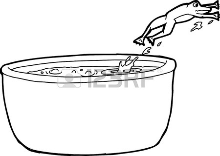 450x320 Outline Cartoon Of Frog Jumping Out Of Hot Cauldron Royalty Free
