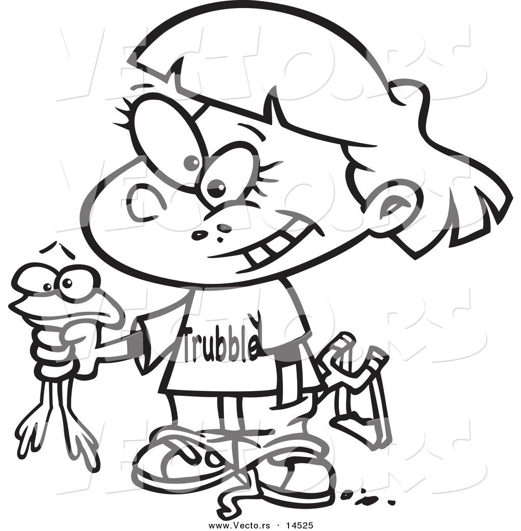 1024x1044 Vector Of A Cartoon Tomboy Girl Holding A Frog
