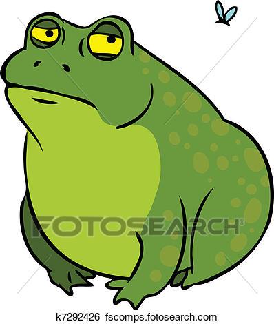 398x470 Clip Art Of Grumpy Fat Frog Cartoon Character K7292426