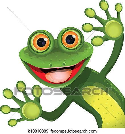 440x470 Clipart Of Outlined Smiling Frog K5914203