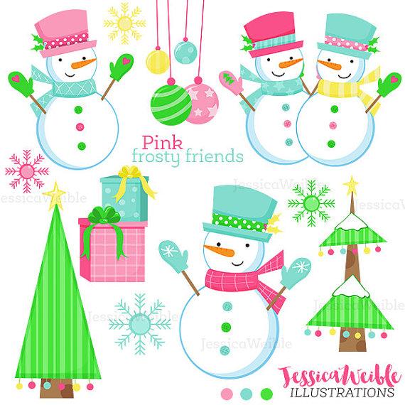 570x570 Pink Frosty Friends Cute Digital Clipart, Christmas Clip Art