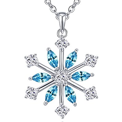 395x395 Yh Snowflake Necklace,925 Sterling Silver Frozen Blue Snowflakes