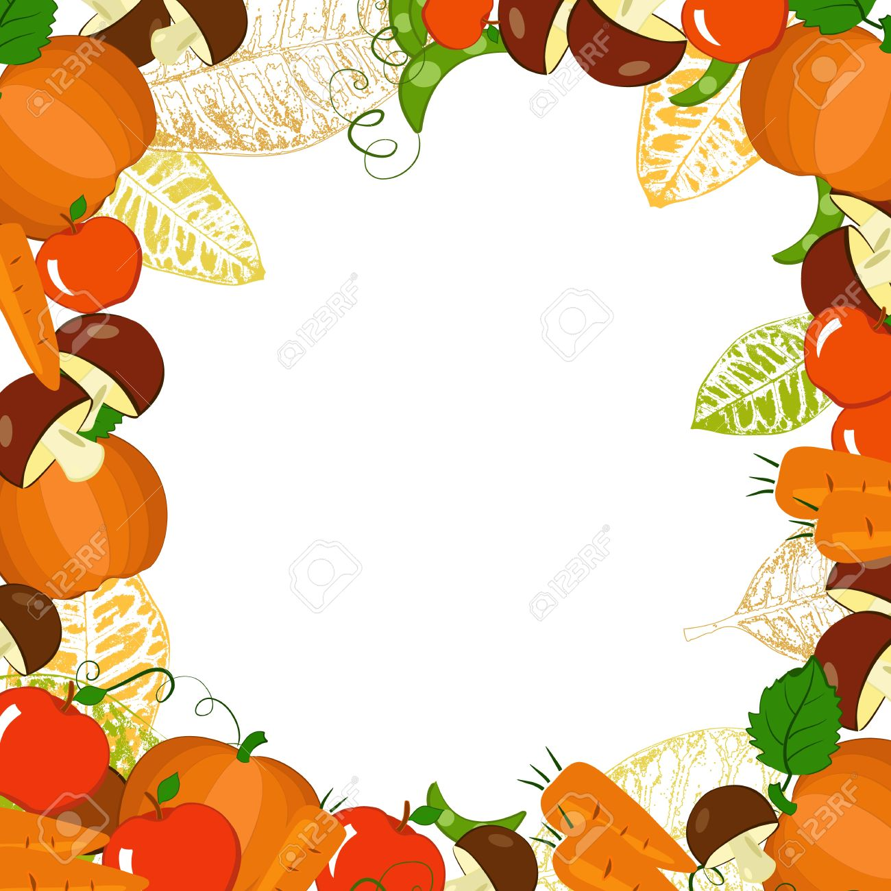 1300x1300 Frame With Autumn Vegetables And Leaves Royalty Free Cliparts