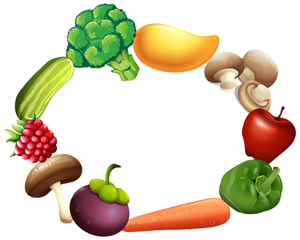 1000x801 Frame Design With Fresh Fruit And Vegetables Illustration Royalty