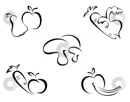 450x353 Fruit And Vegetable Clip Art Black And White Clipart Panda