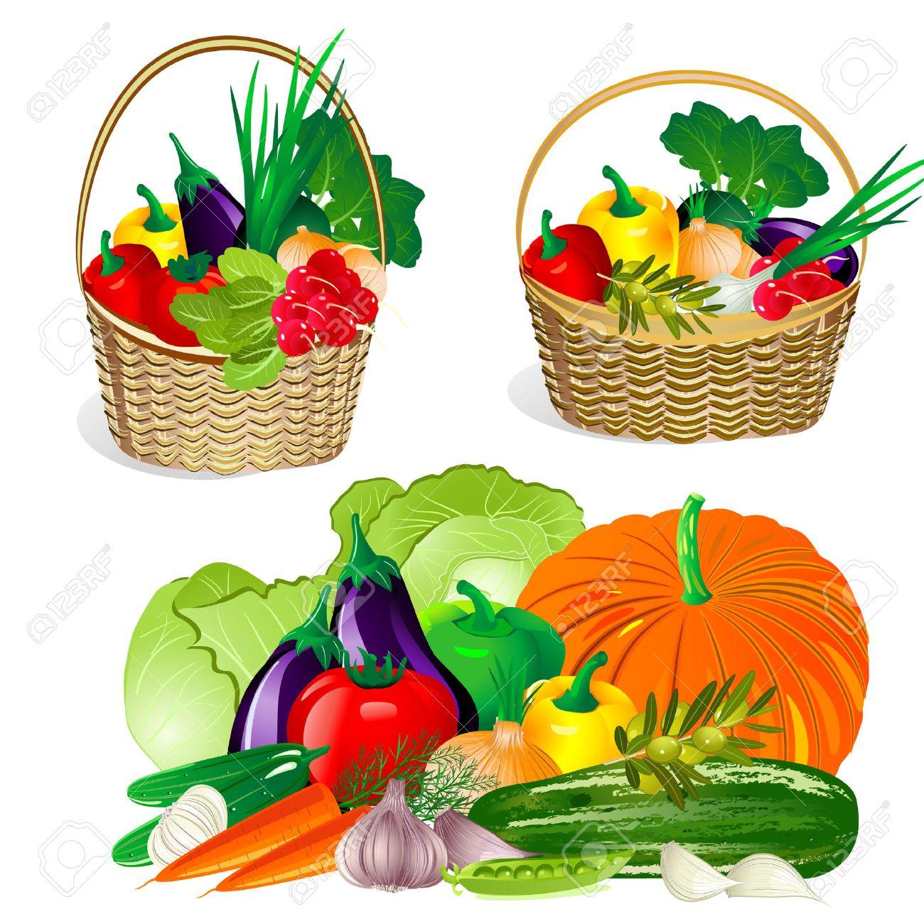 1300x1300 Fruits And Vegetables Basket Outline