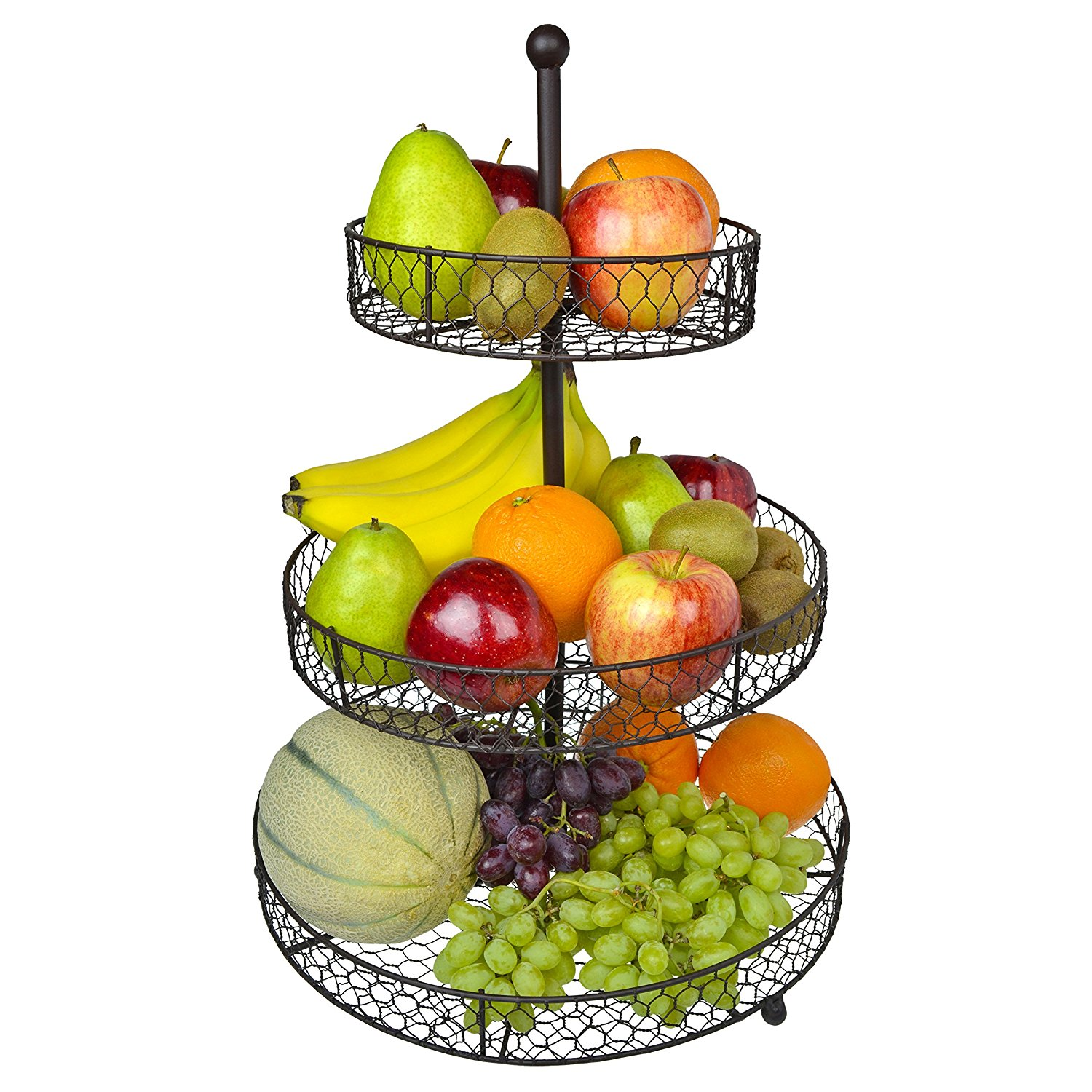 1500x1500 3 Tier Country Rustic Chicken Wire Style Metal Fruit Baskets