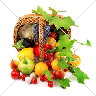 325x325 Fruits And Vegetables In A Wicker Basket Gl Stock Images