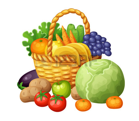 450x394 Fruits And Vegetables In The Basket. Cartoon Vector Illustration