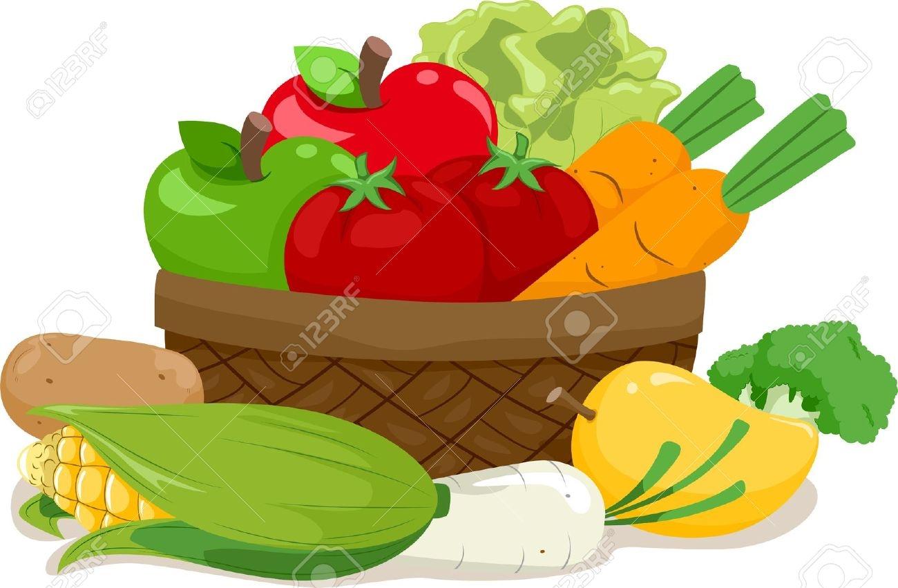 1300x851 Fruits Amp Vegetables Clipart Basket Drawing