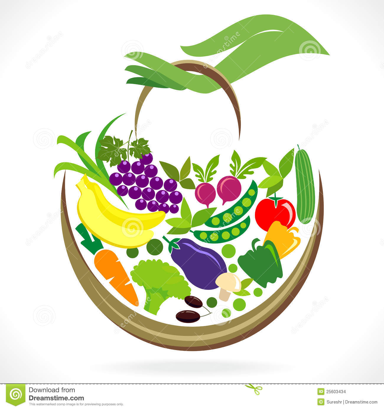 1300x1390 Fruits And Vegetables Basket Clipart Panda