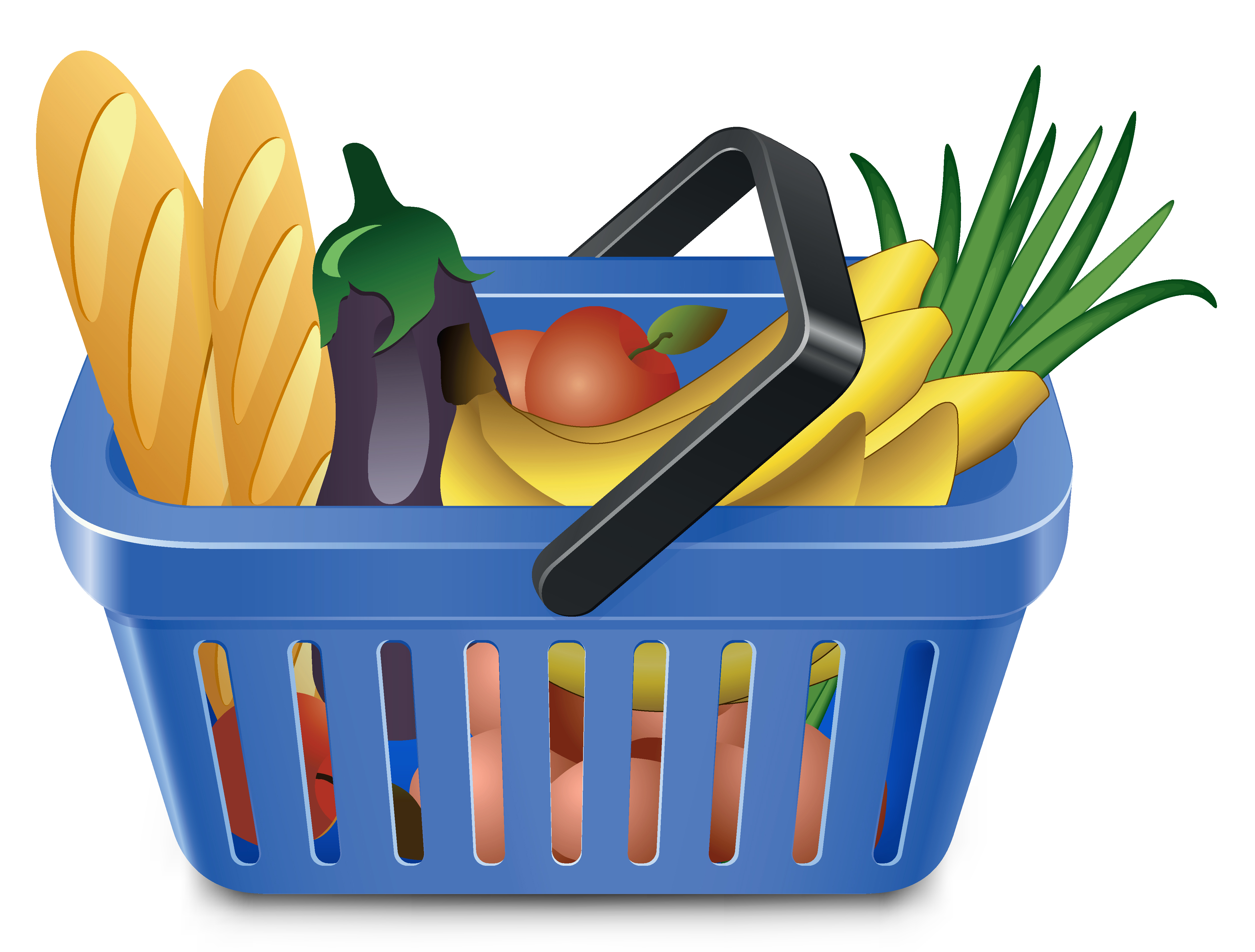 4393x3333 Fruits And Vegetables And Shopping Basket 05 Vector Free Vector