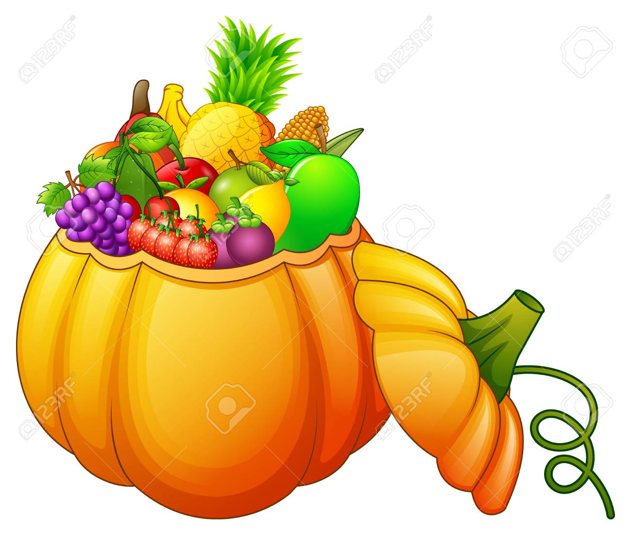 1300x1101 Pumpkin Basket Full Of Fruits And Vegetables Stock Photo, Picture