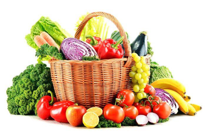 697x469 Stock Photo Shopping Basket Filled Fresh Fruit Vegetables Three